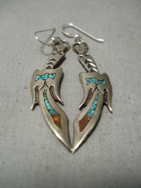 Incredible Vintage Native American Navajo Early Turquoise Coral Sterling Silver Earrings Old
