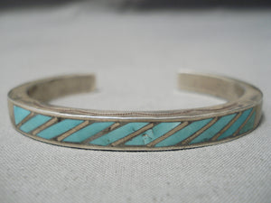 Incredible Vintage Native American Navajo Turquoise Inlay Sterling Silver Bracelet