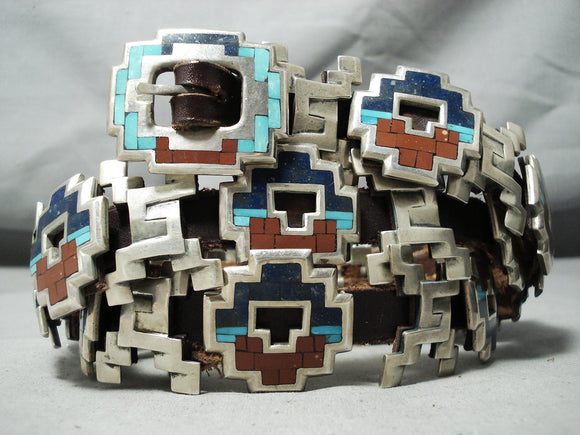 Native American Important Best Vintage Cochiti Turquoise Inlay Sterling Silver Heavy Concho Belt