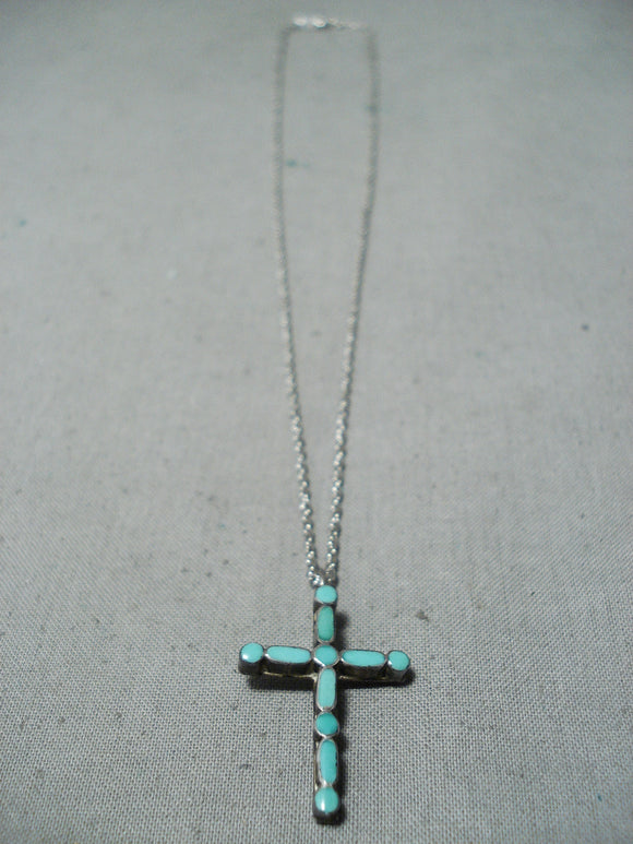 Wonderful Vintage Native American Navajo Turquoise Sterling Silver Cross Necklace Old