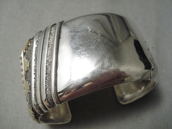 Copy of Authentic Vintage Native American Navajo Heavy Sterling Silver Thomas Singer Bracelet Gold Old