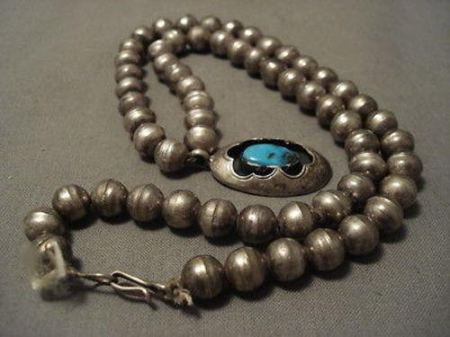 EARLIER 1900'S OLD DEPOSIT BISBEE TURQUOISE SILVER NECKLACE OLD