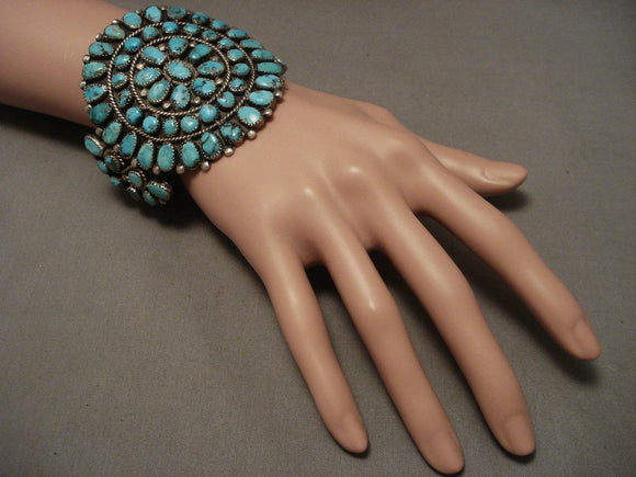 Earlier 1900's Old Navajo Turquoise Native American Jewelry Silver Bracelet-Nativo Arts