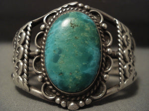 Earlier 1900's Vintage Navajo Chrysocolla Native American Jewelry Silver Bracelet Old-Nativo Arts