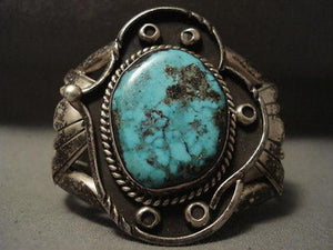 EARLIER 1900'S VINTAGE NAVAJO CROW SPRINGS TURQUOISE SILVER BRACELET OLD-Nativo Arts
