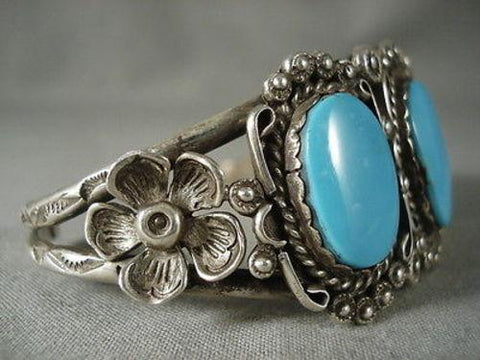 Earlier 1900's Vintage Navajo Deep Blue Turquoise Native American Jewelry Silver Bracelet-Nativo Arts