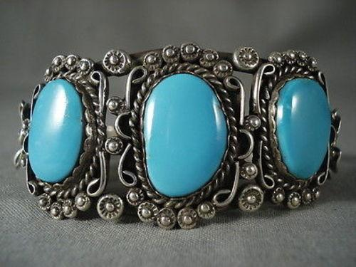 Earlier 1900's Vintage Navajo Deep Blue Turquoise Native American Jewelry Silver Bracelet