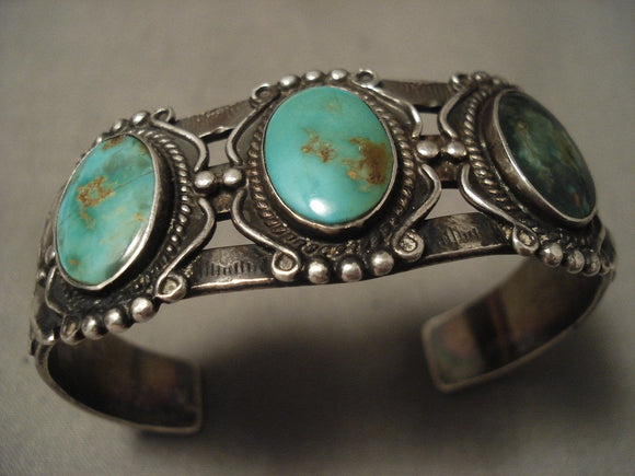 Earlier 1900's Vintage Navajo Native American Jewelry jewelry 'Natural Green Turquoise' Siver Bracelet-Nativo Arts