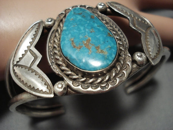Earlier 1900's Vintage Navajo Native American Jewelry jewelry Repoussed Sterling Silver Turquoise Bracelet-Nativo Arts