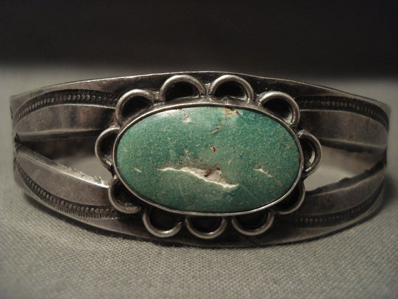 Earlier 1900's Vintage Navajo Natural Cerrillos Turquoise Native American Jewelry Silver Bracelet-Nativo Arts