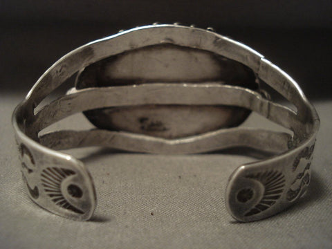 Earlier 1900's Vintage Navajo Petrified Wood Native American Jewelry Silver Bracelet-Nativo Arts