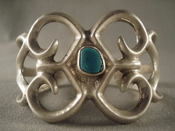 Earlier 1900's Vintage Navajo Turquoise Native American Jewelry Silver Bracelet Old-Nativo Arts