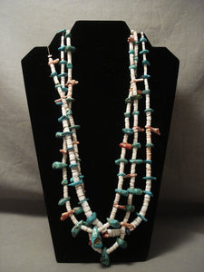 Earlier 1900's Vintage Santo Domingi Turquoise And Shell Necklace-Nativo Arts