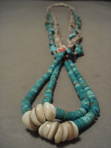 Earlier 1900's Vintage Santo Domingo/ Navajo Native American Jewelry jewelry Turquoise Necklace-Nativo Arts