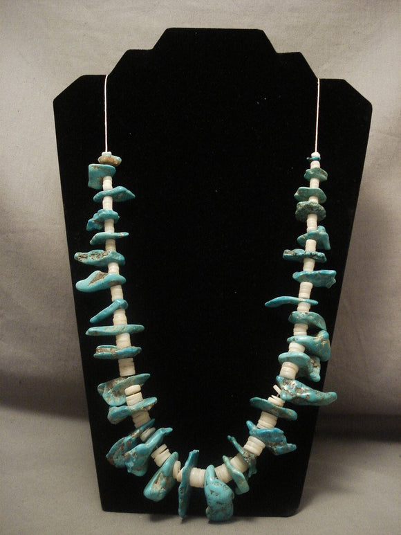 Earlier 1900's Vintage Santo Domingo Turquoise Necklace-Nativo Arts