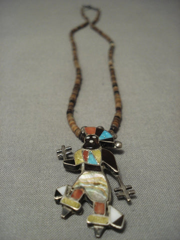 Earlier 1900's Vintage Zuni Spirit Dancer Native American Jewelry Silver Necklace Old-Nativo Arts