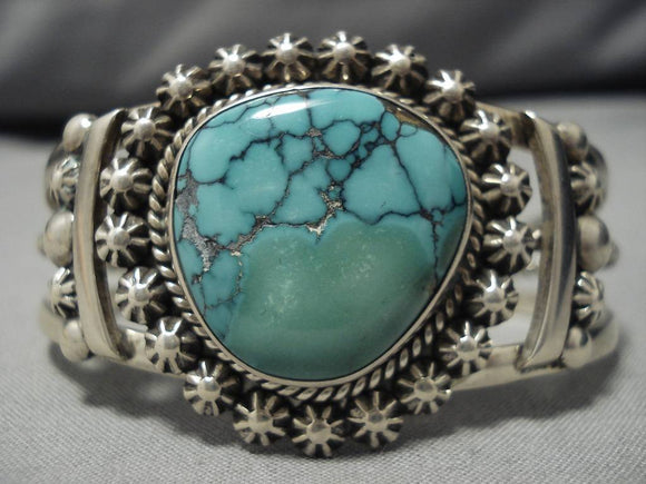 Earlier Spiderweb Turquoise Vintage Native American Navajo Sterling Silver Bracelet Old Cuff-Nativo Arts