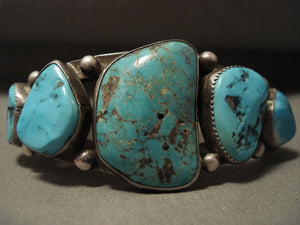 Earlier Vintage Avajo Ingot Native American Jewelry Silver Turquoise Bracelet Old-Nativo Arts