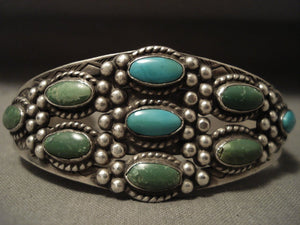 Earlier Vintage Navajo 'Cerrillos And Blue Gem' Turquoise Native American Jewelry Silver Bracelet-Nativo Arts