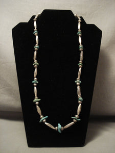 Earlier Vintage Navajo Hand Wrought Native American Jewelry Silver Torpedo Turquoise Native American Jewelry Silver Necklace-Nativo Arts