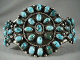 Earlier Vintage Navajo 'Turquoise Sun' Native American Jewelry Silver Bracelet-Nativo Arts