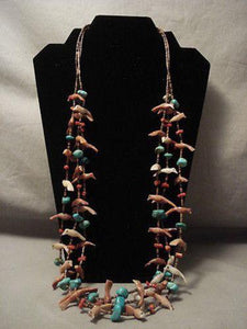 EARLIER VINTAGE SANTO DOMINGO TURQUOISE SHELL FETISH SILVER NECKLACE OLD-Nativo Arts