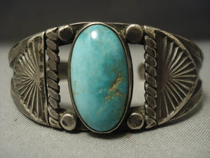 Early 1900's Coin Ingot Native American Jewelry Silver Vintage Navajo Green Turquoise Bracelet Old Pawn-Nativo Arts