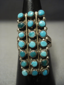 Early 1900's Huge Vintage Navajo Cerrillos Turquoise Snake Eyes Native American Jewelry Silver Ring-Nativo Arts