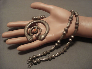 Early 1900's Ingot Native American Jewelry Silver Coral Naja Necklace Old Vintage-Nativo Arts