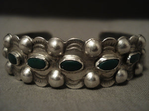 Early 1900's Navajo Cerrillos Turquoise Native American Jewelry Silver Bulb Bracelet-Nativo Arts
