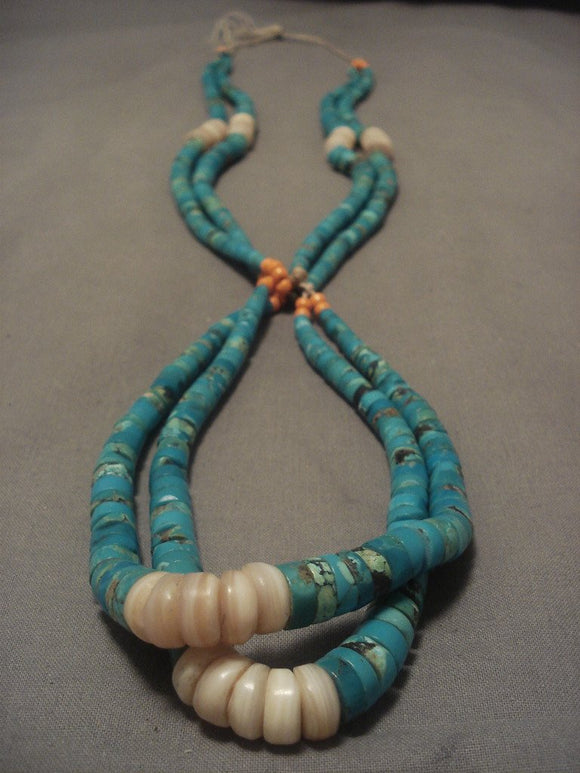 Early 1900's Old Santo Domingo Turquoise Necklace-Nativo Arts