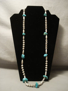 Early 1900's Prime Vintage Navajo Hogan Bead Native American Jewelry Silver Turquoise Necklace Old-Nativo Arts