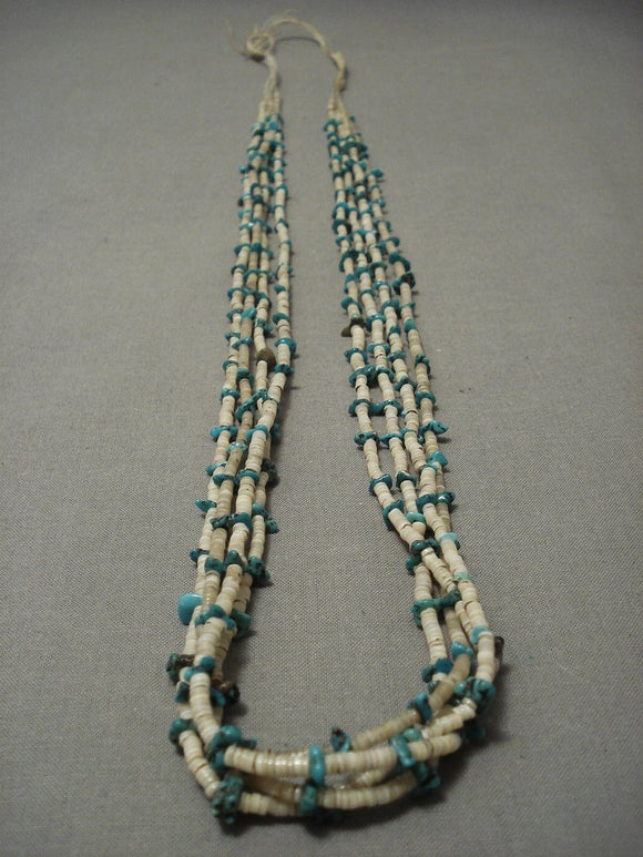 Early 1900's Santo Domingo Old Pawn Vintage Turquoise Necklace Vtg-Nativo Arts