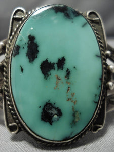 Early 1900's Vintage Native American Navajo Domed Green Turquoise Sterling Silver Bracelet Old-Nativo Arts