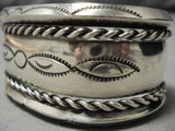 Early 1900's Vintage Native American Navajo Sterling Silver Sun Silver Bracelet Old-Nativo Arts