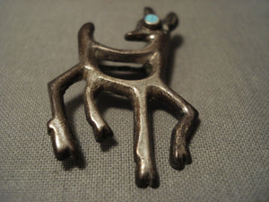 Early 1900's Vintage Navajo Antelope Turquoise Native American Jewelry Silver Pin-Nativo Arts