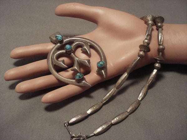 Early 1900's Vintage Navajo Bisbee Turquoise Native American Jewelry Silver Necklace Vtg
