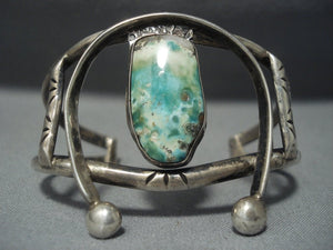 Early 1900's Vintage Navajo Cerrillos Turquoise 'Naja' Sterling Native American Jewelry Silver Bracelet-Nativo Arts