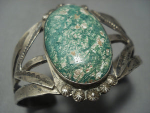 Early 1900's Vintage Navajo Cerrillos Turquoise Setrling Native American Jewelry Silver Bracelet-Nativo Arts