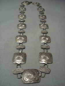 Early 1900's Vintage Navajo Concho Haqnd Wrought Sterling Native American Jewelry Silver Necklace Belt-Nativo Arts