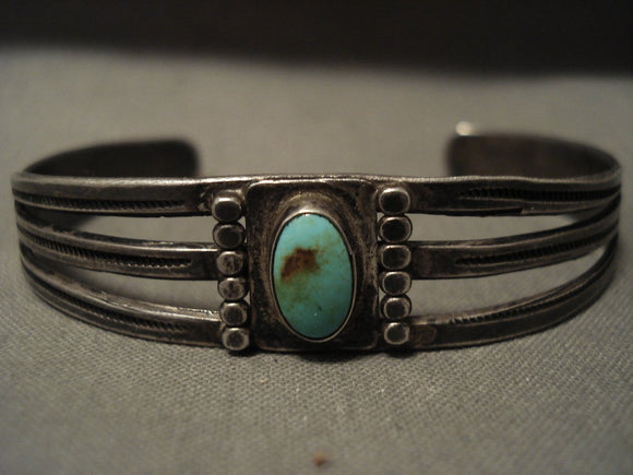 Early 1900's Vintage Navajo 'Domed Royston Turquoise' Native American Jewelry Silver Bracelet-Nativo Arts