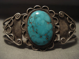 Early 1900's Vintage Navajo Domed Turquoise Native American Jewelry Silver Bracelet-Nativo Arts