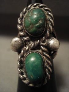 Early 1900's Vintage Navajo Green Turquoise Native American Jewelry Silver Ring Old-Nativo Arts