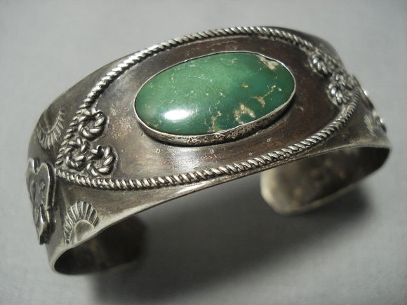 Early 1900's Vintage Navajo Green Turquoise Sterling Native American Jewelry Silver Bracelet Old Cuff-Nativo Arts