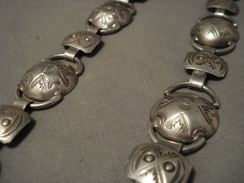 Early 1900's Vintage Navajo Hand Pounded Native American Jewelry Silver Necklace-Nativo Arts