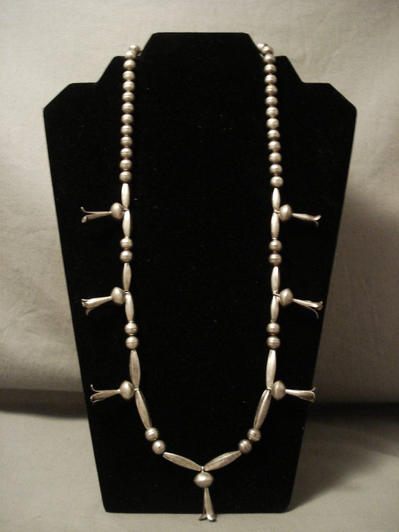 Early 1900;s Vintage Navajo Hand Pounded Native American Jewelry Silver Squash Necklace Old-Nativo Arts