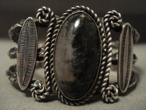 Early 1900's Vintage Navajo Heavier Petrified Wood Coil Native American Jewelry Silver Bracelet-Nativo Arts