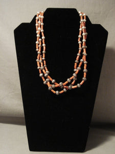 Early 1900's Vintage Navajo Hogan Bead Natural Coral Native American Jewelry Silver Necklace Old-Nativo Arts