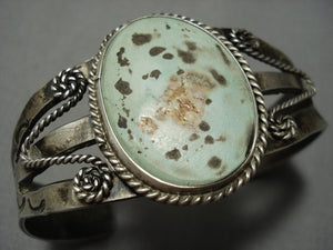 Early 1900's Vintage Navajo Native American Jewelry jewelry Ingot Green Turquoise Bracelet Old-Nativo Arts
