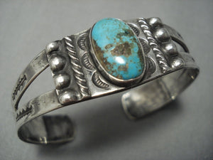 Early 1900's Vintage Navajo Native American Jewelry jewelry Royston Turquoise Sterling Silver Bracelet Old-Nativo Arts